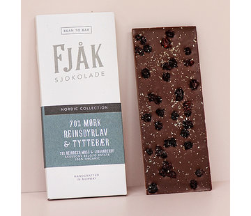 Fjåk Sjokolade  Dunkle Bio-Schokolade 70% Mørk Reinsdyrlav & Tyttebær