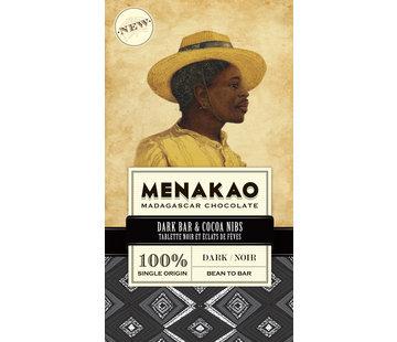 Menakao Dunkle Schokolade Dark Bar & Cocoa Nibs 100%