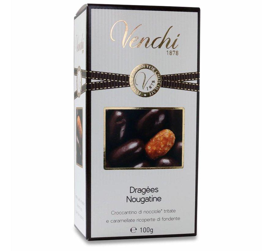 Haselnusskrokant in dunkler Schokolade Nougatine