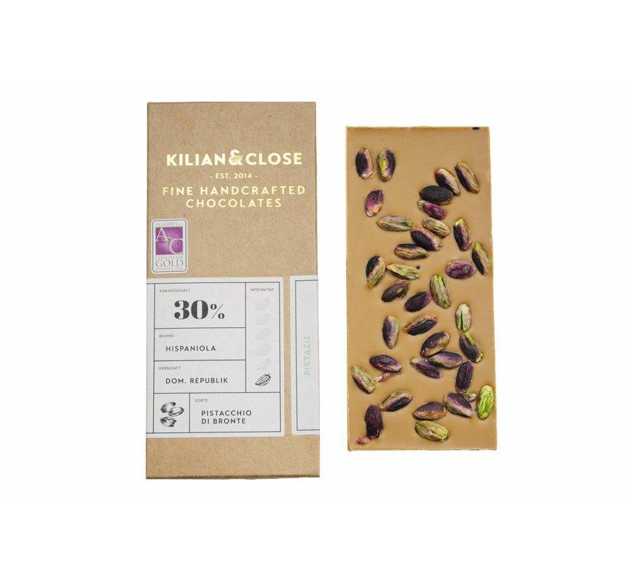 Vegane weiße Schokolade mit Bronte-Pistazien