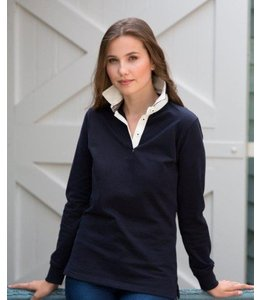Front Row UITVERKOOP; Slim fit polo voor dames met contrast boord en lange mouwen - MERYL