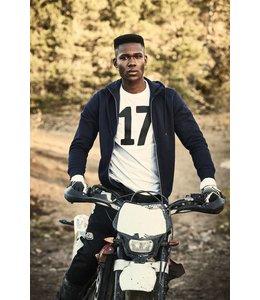 Printer Heren sweatshirt  met capuchon en contrasterende ritssluiting -  DRASAN