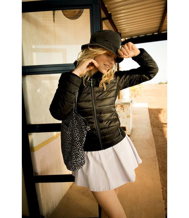 Printer - Lichte dames jas in 2 materialen, licht gewatteerd - ANOUSKA