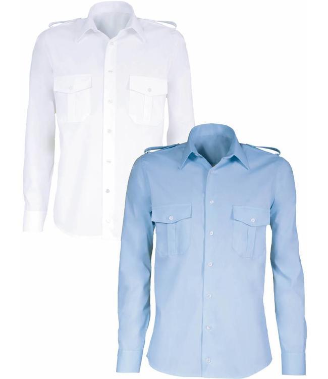 Giovanni Capraro - heren piloten overhemd EDMONDO, met verwijderbare epauletten op de schouders
