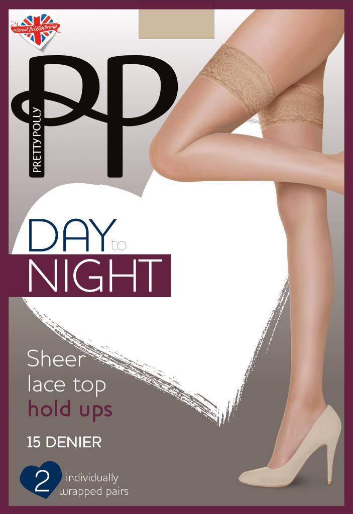 Pretty Polly 15D Sheer Lace Top Hold Up's 2 pair pack