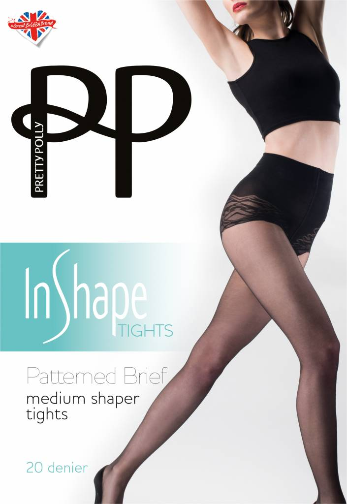 Pretty Polly Medium Shaper Tights with patterned brief