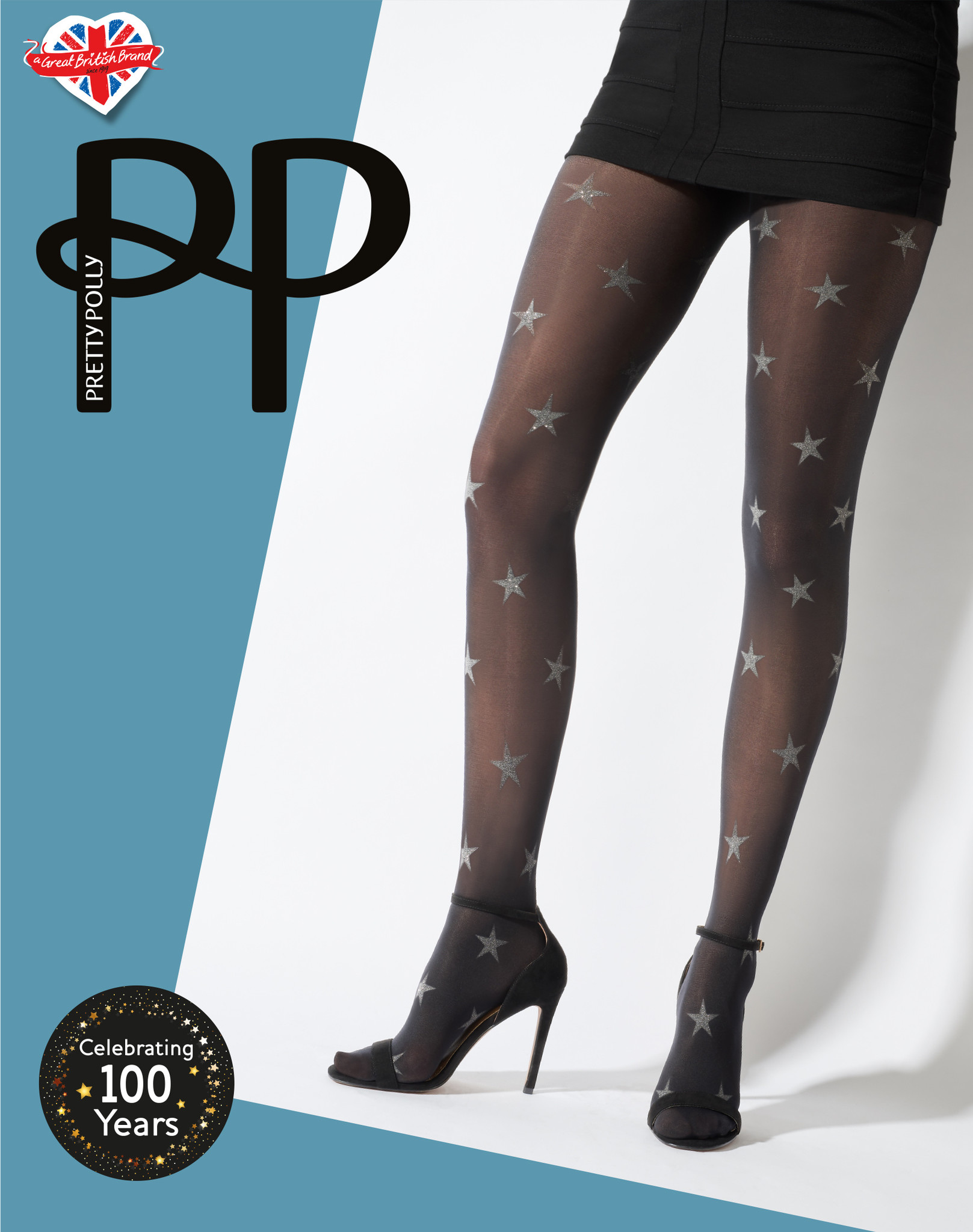 Pretty Polly Star Print  40 denier opaque Panty