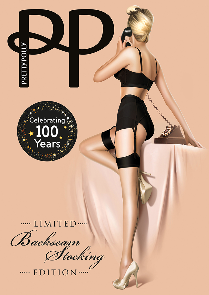 "Pretty Polly 10D. ""Nylons"" Centenary Backseam Stockings"