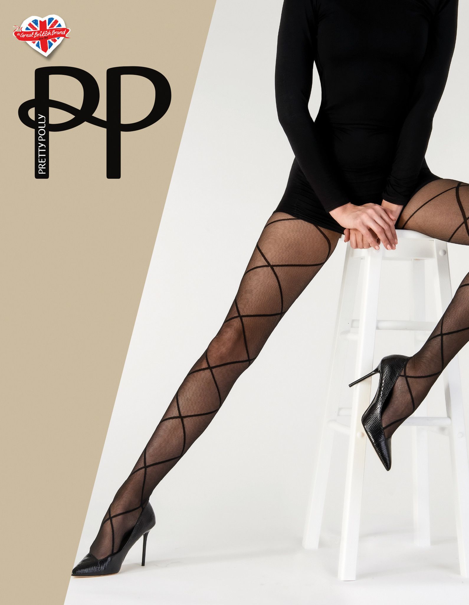 Pretty Polly Pretty Polly Diamond Mesh Panty Zwart - One Size