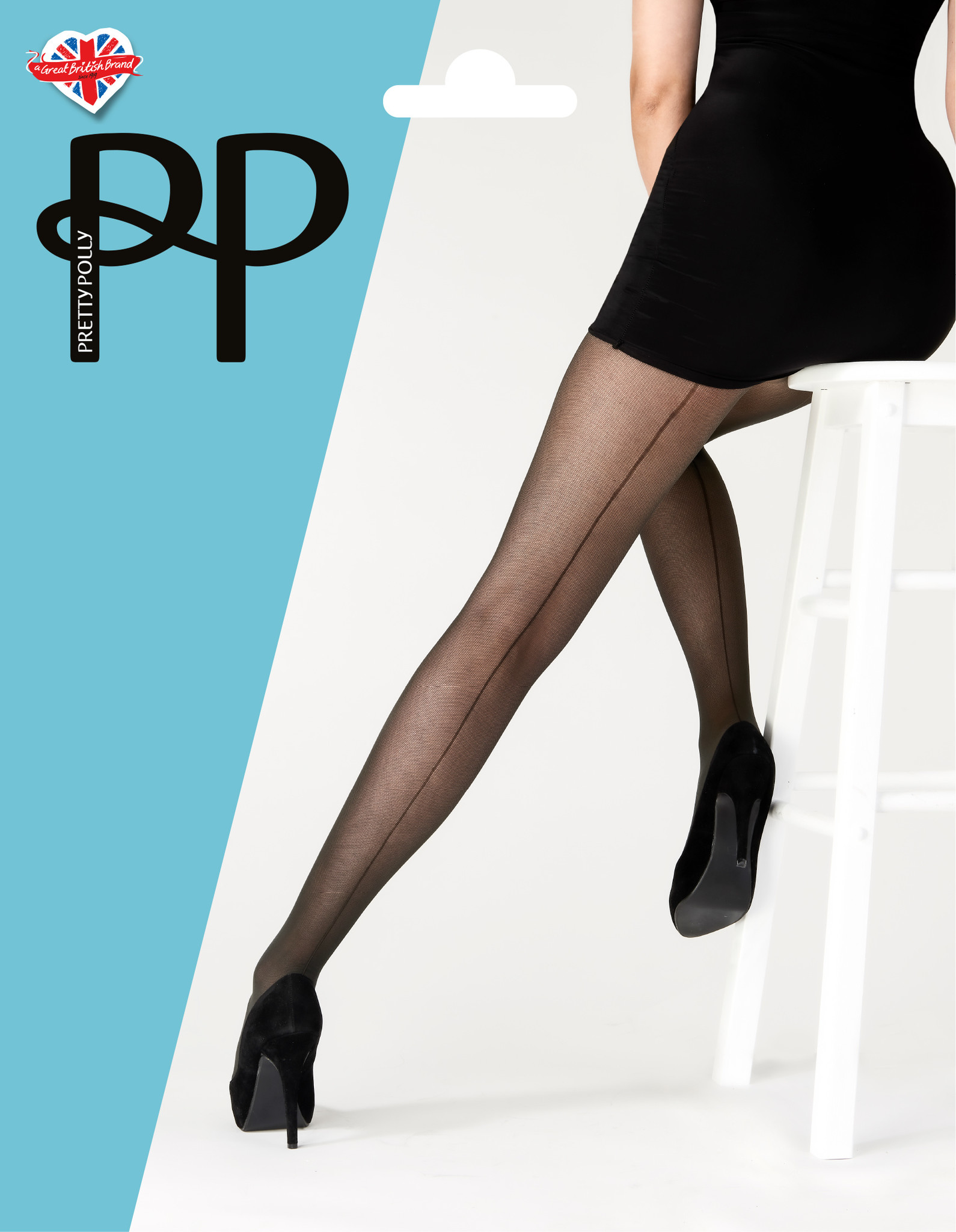 Pretty Polly  Pretty Polly Tulle Backseam Zwarte Panty - One Size