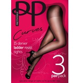 Pretty Polly Curves voor een maatje meer, 15D. Ladder Resist Tights 3 pair
