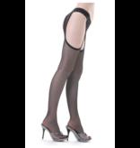 Clio Clio Finemesh Seam Suspender Tights with Lace Top