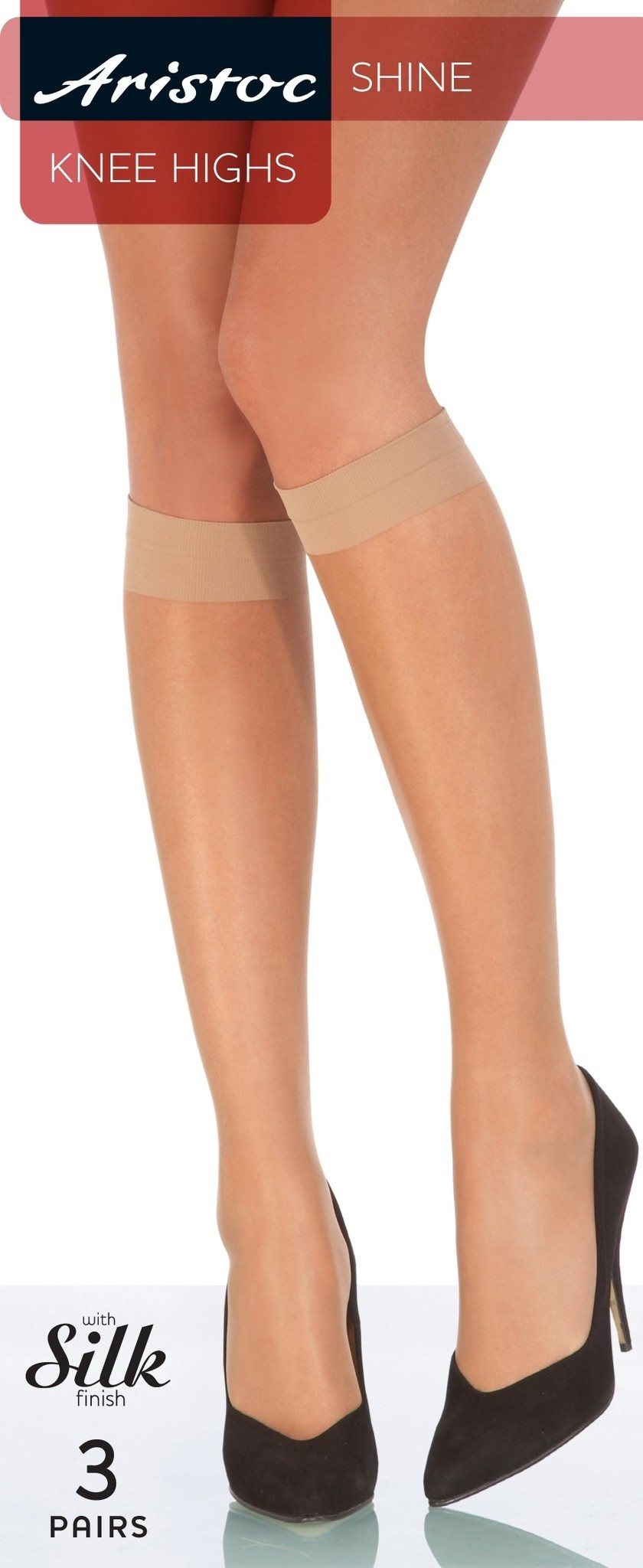 Aristoc Pretty Polly 10 D. Shine Kneehighs with silk finish 3 pair