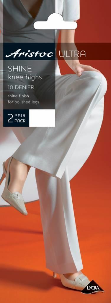 Aristoc Pretty Polly 10D. Shine Kneehighs 2 pair