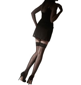 Pretty Polly Velvet Lace Top Hold Ups with Seam