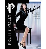 """Pretty Polly 10D. """"Nylons"""" glans Hold Ups met zelf ophoudend kanten boord"""