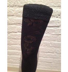 Clio Opaque Flower Motif Ribbon Hold Ups