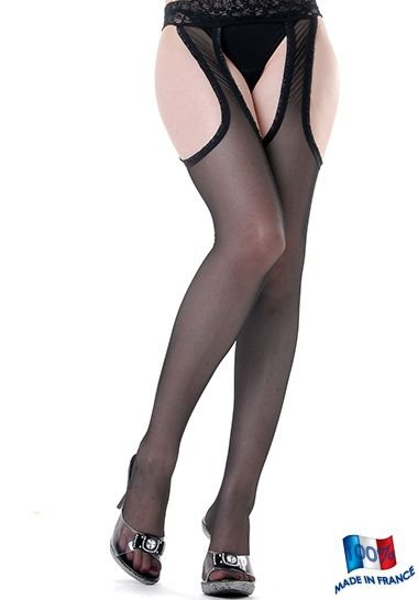 Clio Finemesh seamd Suspender Tights with Lace Top