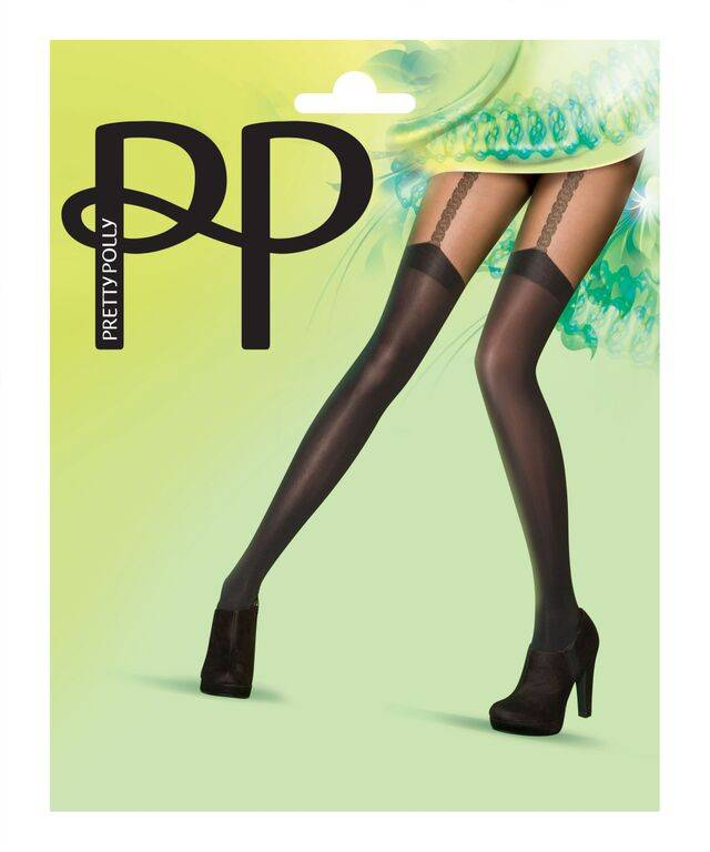 Pretty Polly Gold Link Mock Suspender Tights
