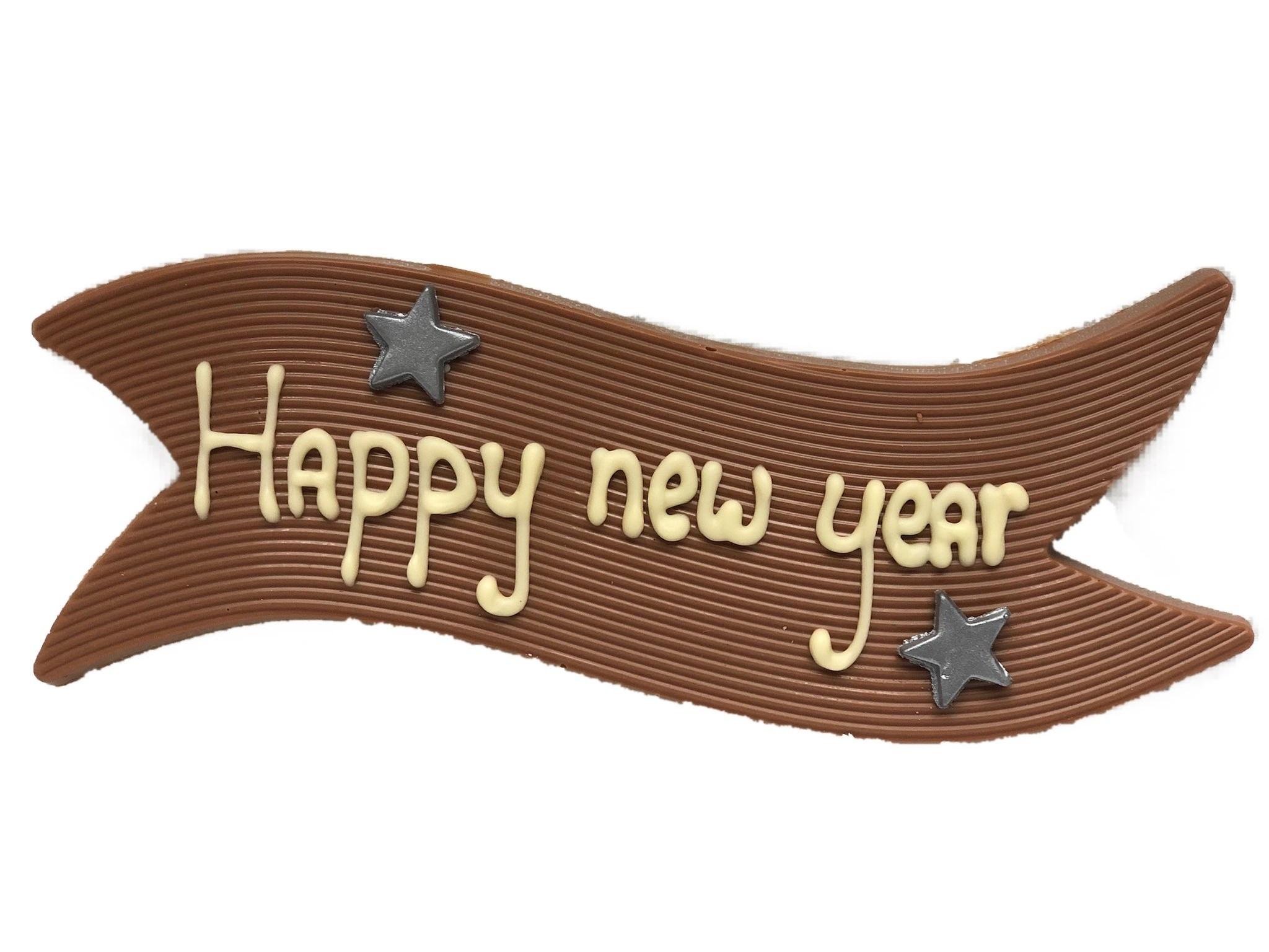 Nieuwjaarswens op chocolade vaandel
