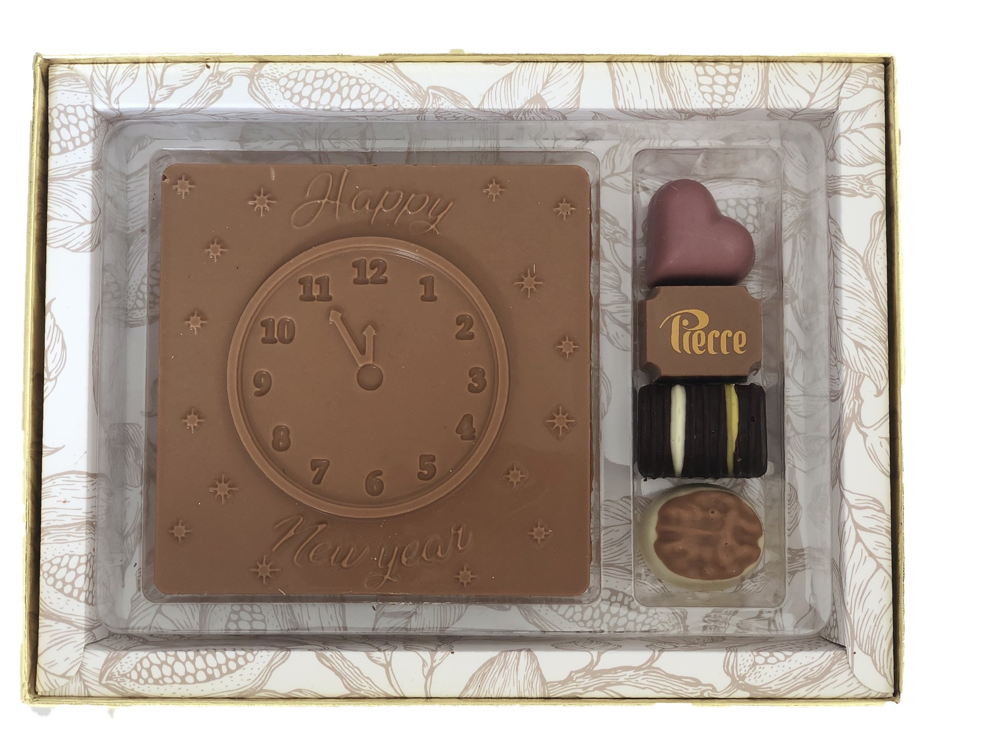 Luxe Happy New Year-box met bonbons en chocolade tablet