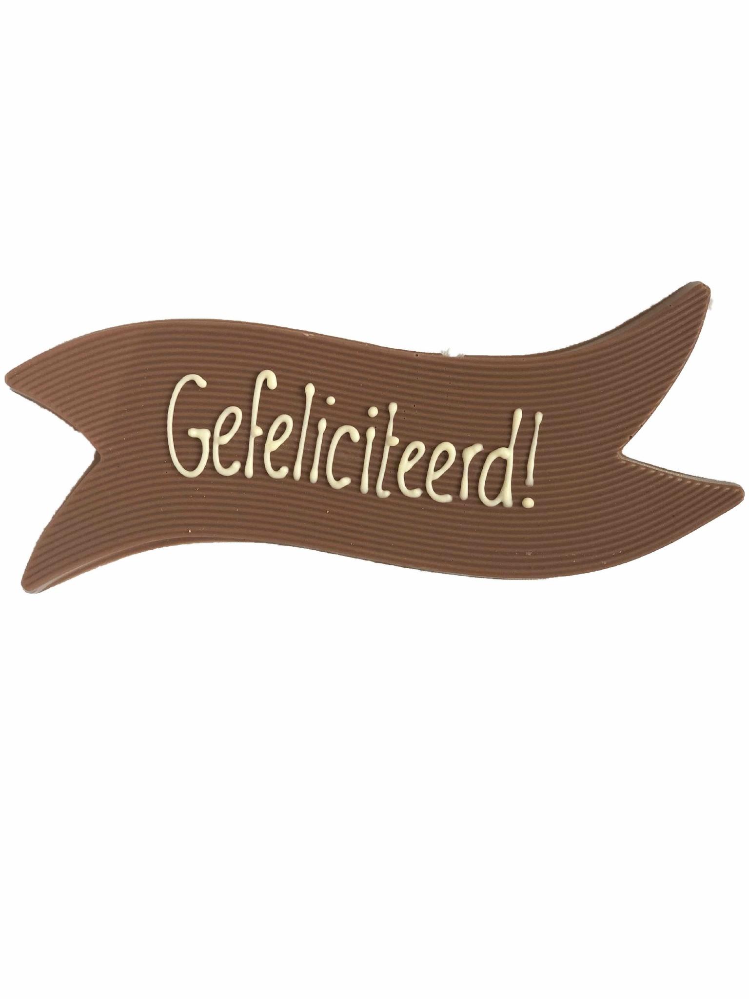 Vaandel Gefeliciteerd! van heerlijke chocolade