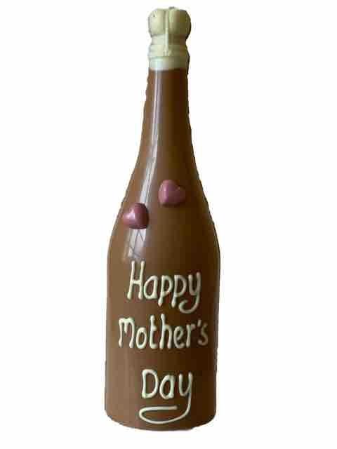 Chocolade champagnefles voor de liefste mama