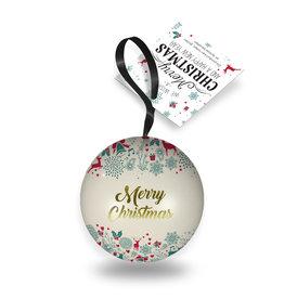 Kerstbal blik met bonbons