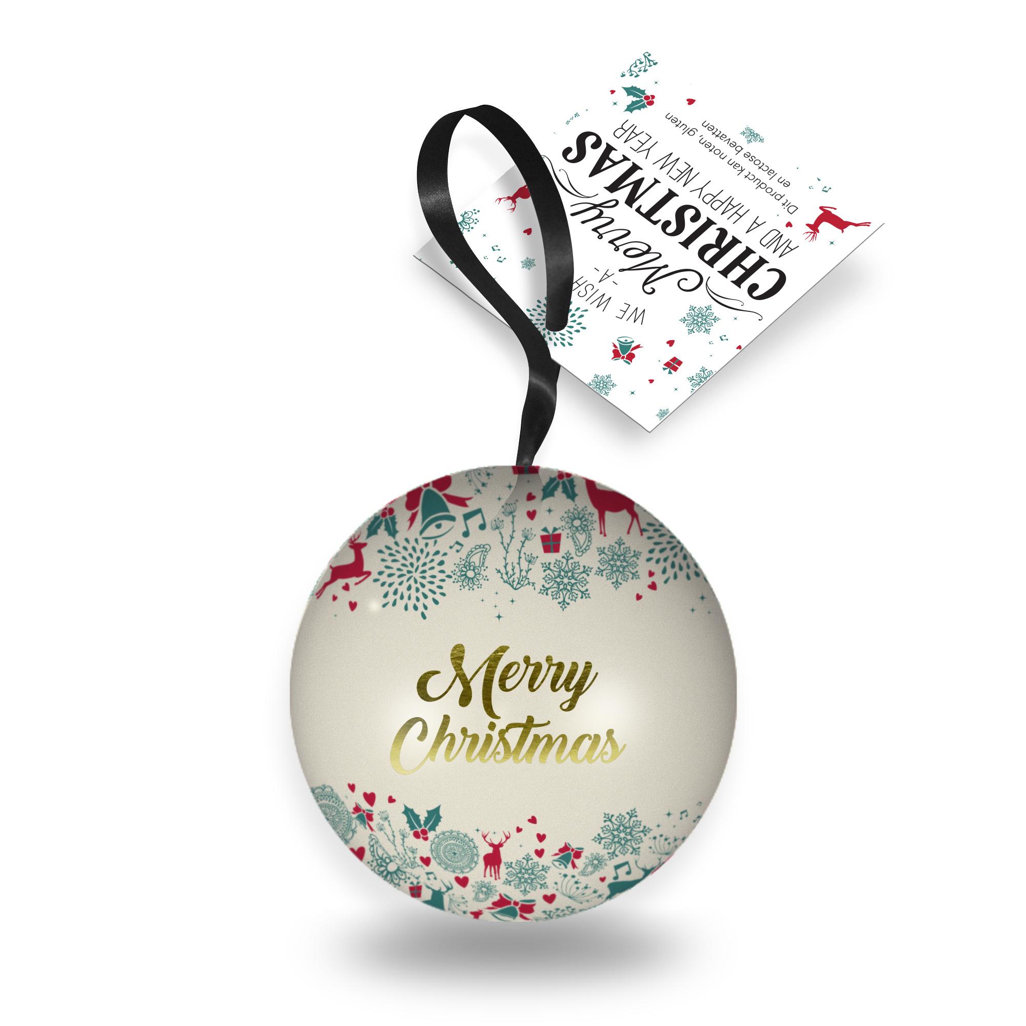 Kerstbal van blik gevuld met heerlijke bonbons
