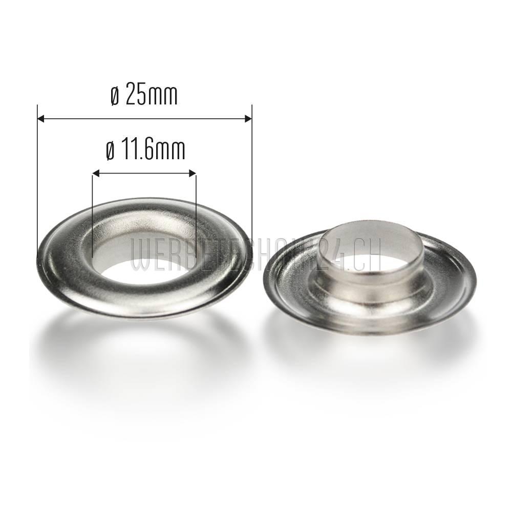 Œillets Premium laiton nickelé ø25mm (500 pces)