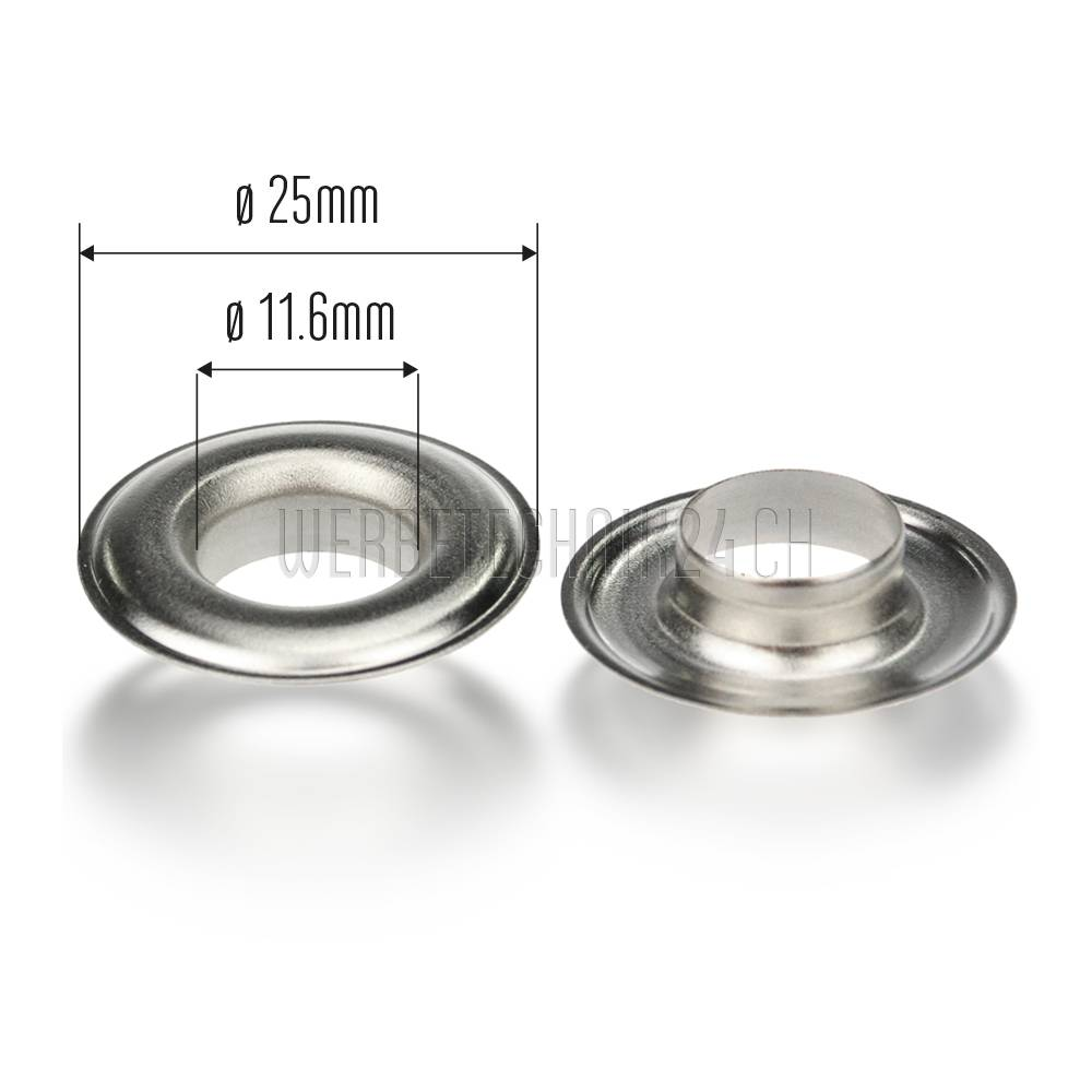 Premium Ösen Messing vernickelt ø25mm (500 Stk.)