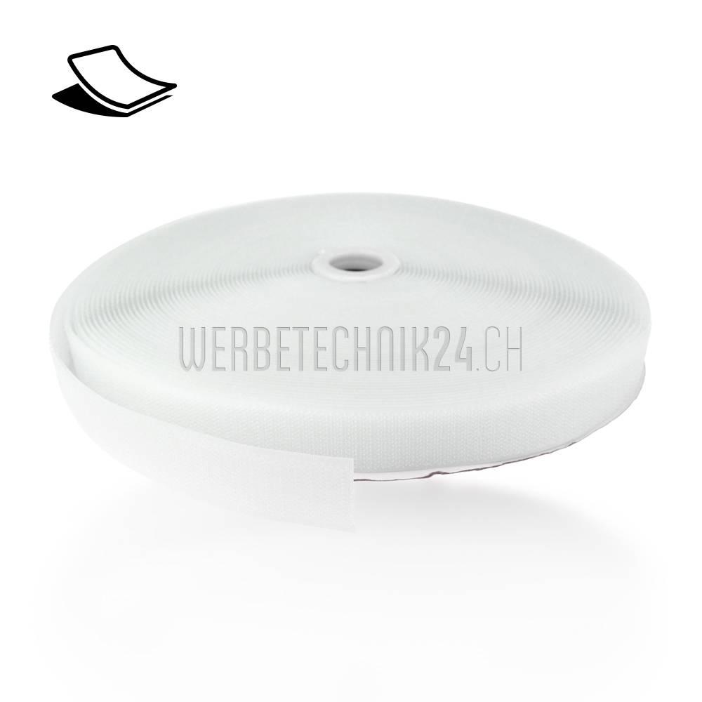 Klettband Weiss selbstklebend 25mm x 25m