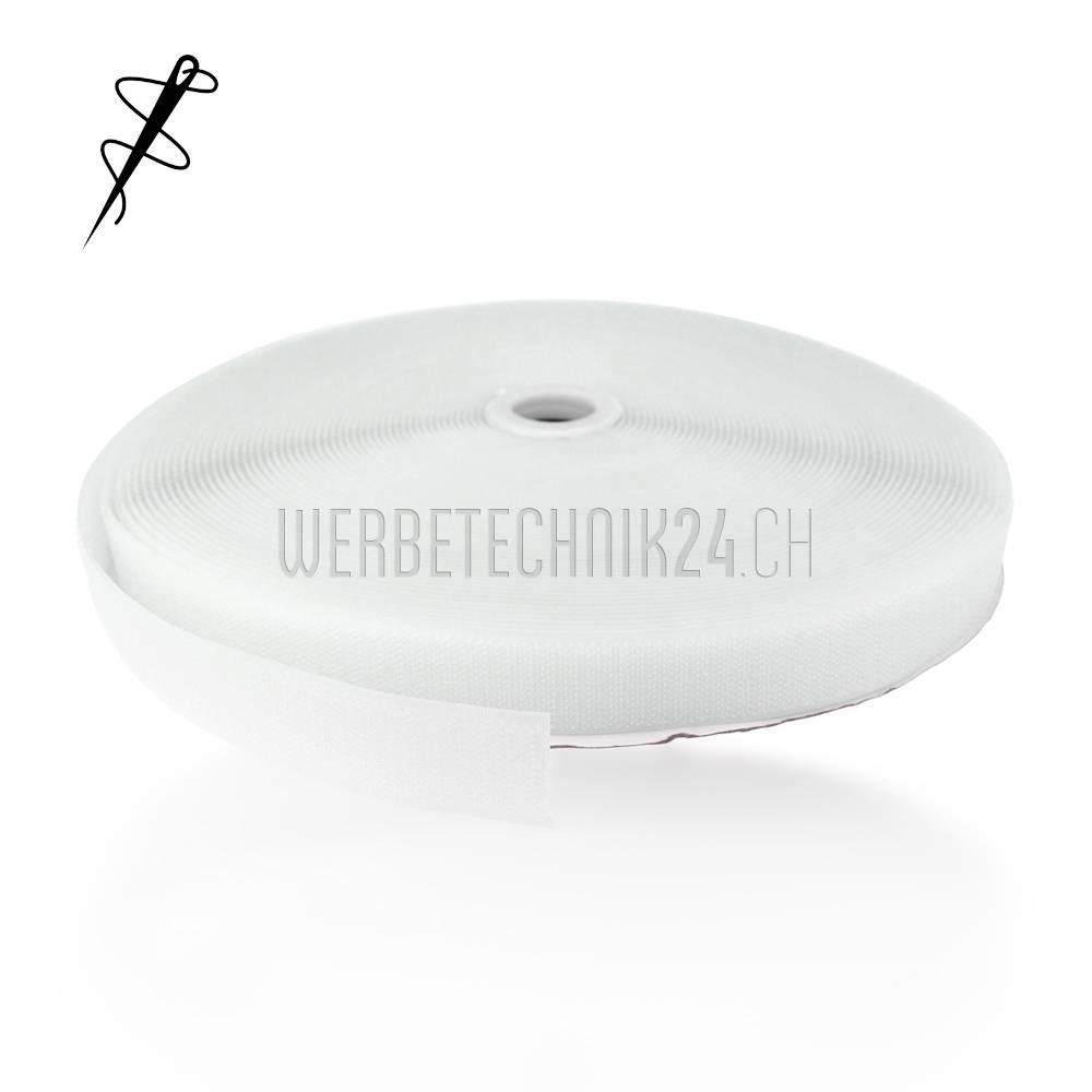 Klettband Weiss zum Aufnähen 25mm x 25m