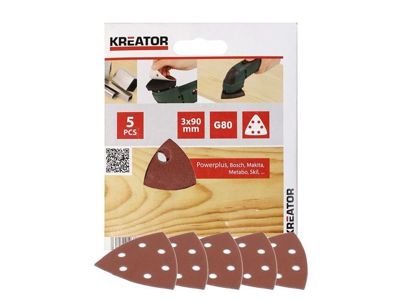 Kreator SCHUURBLAD DRIEHOEK 3X90 - K80 5 stuks