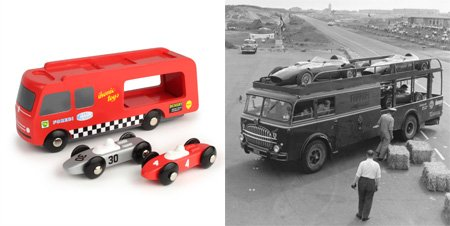 Wooden racing car transporter, inspired by 1950's Formula 1