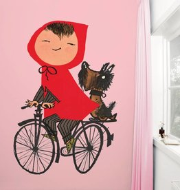 Kek Amsterdam Fiep Westendorp Fotobehang 'Op de fiets', roze