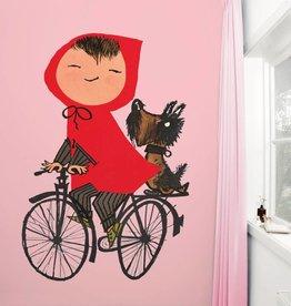 Kek Amsterdam Fotobehang 'Op de fiets', roze