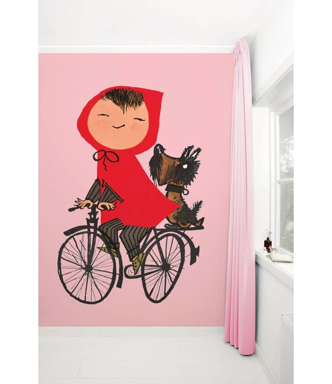 Kek Amsterdam Fiep Westendorp Photo wallpaper 'Girl on bicycle', pink