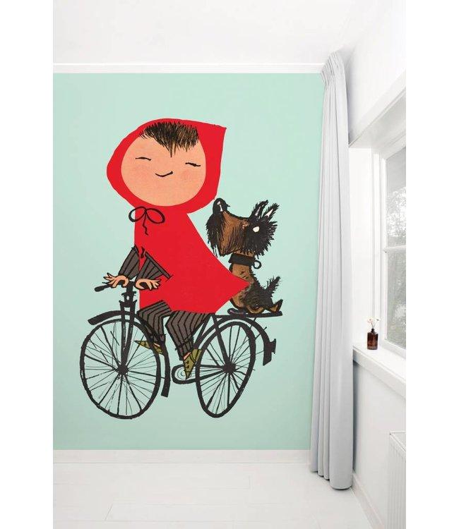Kinderkamerbehang 'Op de fiets', groen - Fiep Westendorp