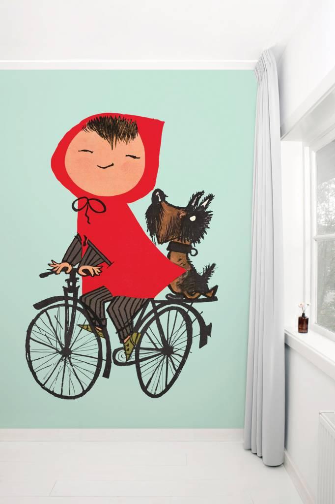 Kek Amsterdam Kinderkamerbehang 'Op de fiets', groen - Fiep Westendorp