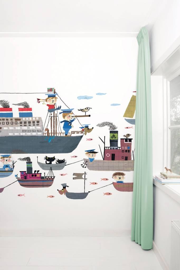 Kek Amsterdam Fotobehang 'Bootjes' / Holland Amerika Lijn - Fiep Westendorp