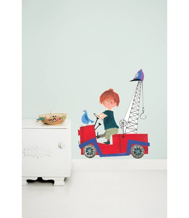 Wall Sticker 'The Red Tow Truck' (XL)