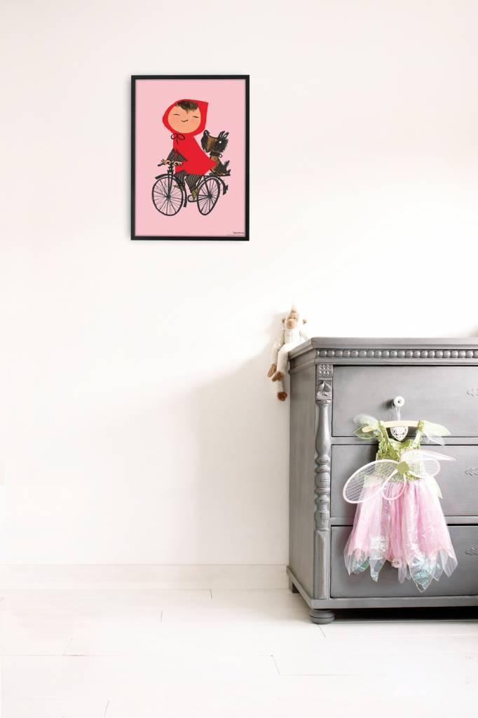 Kek Amsterdam Poster 'Op de fiets', roze, 42 x 60 cm