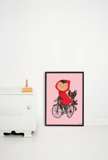 Kek Amsterdam Poster 'The Girl on Bicycle', pink, 42 x 60 cm