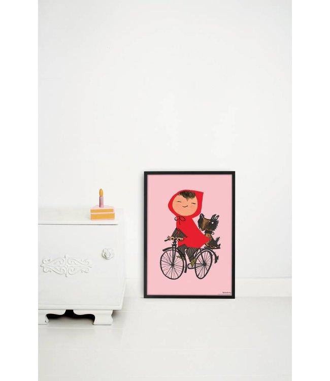 Poster 'Op de fiets', roze, 42 x 60 cm