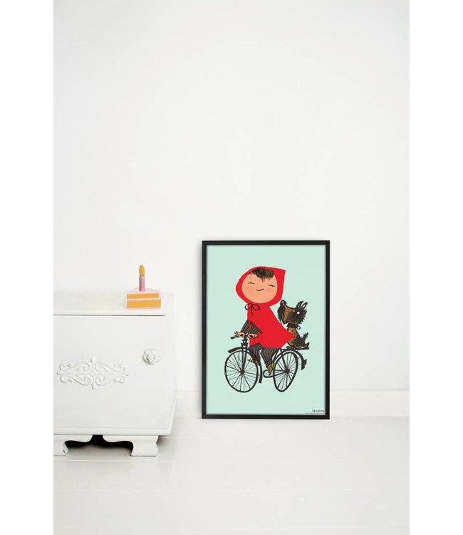 Poster 'Op de fiets', groen, 42 x 60 cm