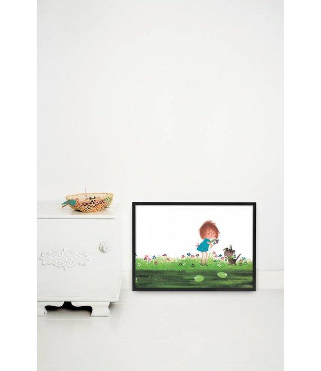 Kek Amsterdam Poster 'Bloemen plukken', 60 x 42 cm