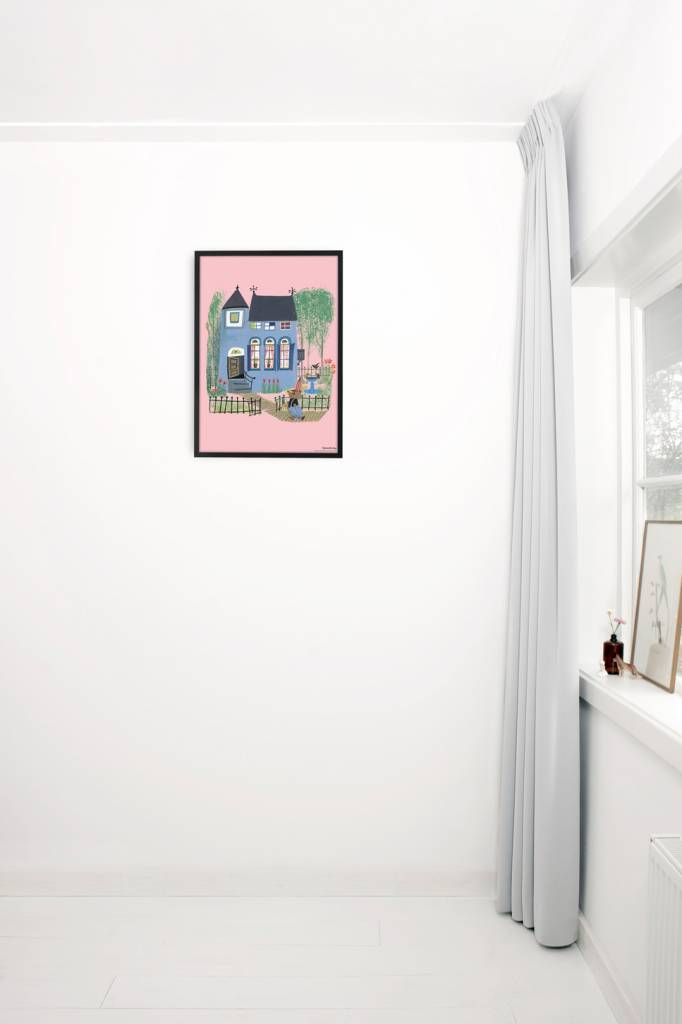 Kek Amsterdam Poster 'Bear in front of the blue house', 42 x 60 cm