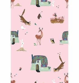 Kek Amsterdam Wallpaper 'Forrest Animals', pink