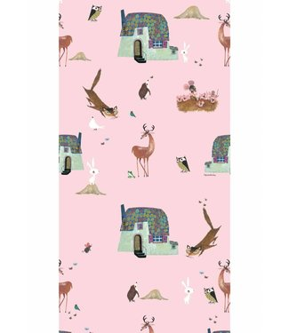 Kek Amsterdam Fiep Westendorp Wallpaper 'Forrest Animals', pink